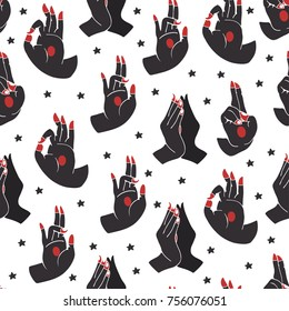 Hand drawn yoga mudras. Colored graphic vector seamless pattern