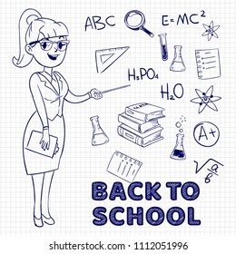 Hand drawn young female teacher and school elements. Back to school vector concept illustration