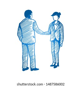 Hand drawn of young male and female business person congratulate their successful achievement. Business deal sketch concept. Isolated vector illustration design with white background