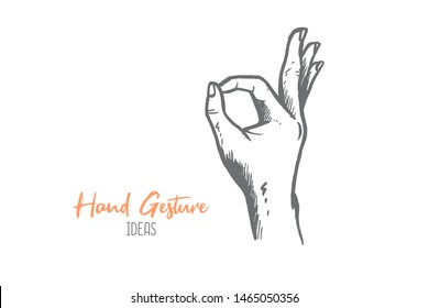 Hand drawn of young person encircle finger. Agree, OK, concur, yes, approval hands gesture sketch concept vector illustration. Isolated design with white background