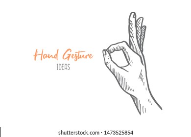 Hand drawn of young person encircle finger. Agree hands gesture sketch concept vector illustration. Isolated design with white background