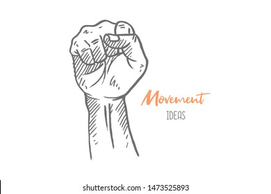 Hand drawn of young person fist hand to express struggle spirit. Warrior fighter hands gesture sketch concept vector illustration. Isolated design with white background
