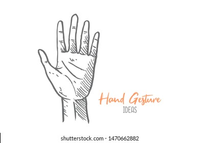 Hand drawn of young person raising the hand. Hands gesture sketch concept vector illustration. Isolated design with white background
