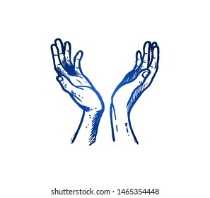 Hand drawn of young religious person open hands like tree to pray. Pilgrimage, hope, ask, request to God hands gesture sketch concept vector illustration. Isolated design with white background