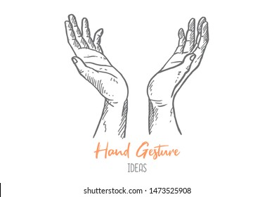 Hand drawn of young religious person open hands like tree to pray. Pilgrimage to God hands gesture sketch concept vector illustration. Isolated design with white background