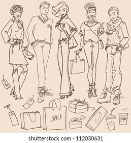 Hand drawn young women and men with shopping bags, Shopping doodles, sketch