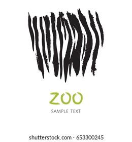 Hand drawn zebra skin template. Logo for zoo