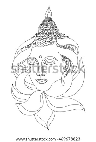 Hand Drawn Zen Tangle Style Gautama Stock Vector Royalty Free