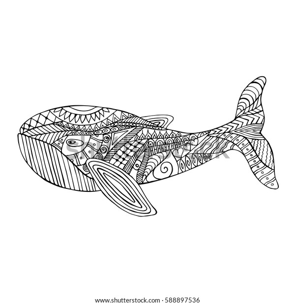 Hand drawn zen tangle whale for coloring page.  Ornamental pattern for relax and meditation. Made by trace from sketch.