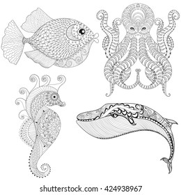 coloring pages of orca whales eels octopus | Octopus Fish Images, Stock Photos & Vectors | Shutterstock