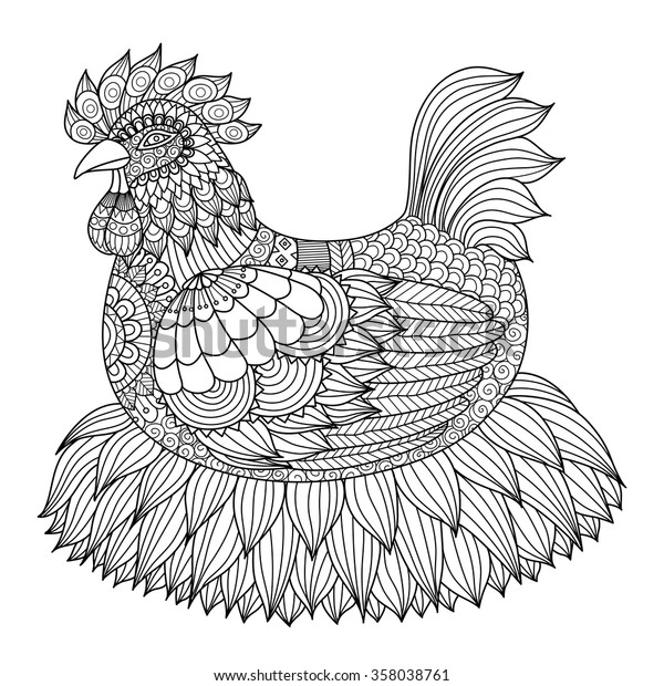 Hand Drawn Zentangle Chicken Coloring Book Stock ...