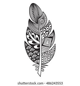 Hand drawn zentangle feather on white background. A card with decorative feathers. Isolated vector illustration.