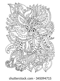 Hand drawn zentangle flowers and leaves for adult anti stress. Coloring page with high details isolated on white background. Made by trace from sketch. Zentangle pattern for relax and meditation.