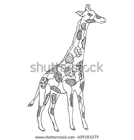 Hand Drawn Zentangle Giraffe Coloring Page Stock Vector Royalty
