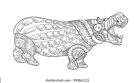 Hand drawn zentangle hippopotamus for coloring book for adult, tattoo, shirt design and other decorations. Animal. Vector