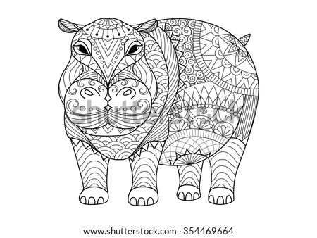 Hand Drawn Zentangle Hippopotamus For Coloring Book Adult Tattoo Shirt Design And Other
