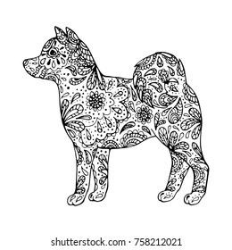 Hand drawn zentangle inspired dog silhouette on white background. 2018 year zodiac sign. Coloring book template.