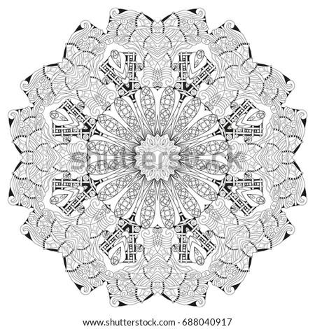 Hand Drawn Zentangle Mandala Coloring Page Stock Vector Royalty