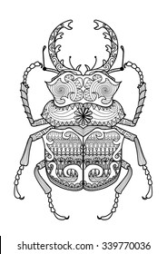Hand drawn zentangle odontolabis cuvera bug for coloring page,logo, t shirt design effect and tattoo