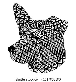 Hand drawn zentangle ornate dog on a white background. Decorative vector design for coloring books, art therapy, antistress, greeting cards.