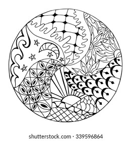 Hand drawn zentangle round ornament for adult anti stress. Coloring page with high details isolated on white background. Made by trace from sketch. Ink pen. Zentangle pattern for relax and meditation.