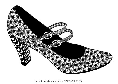 Hand drawn zentangle slipper on a white background. Decorative vector design for coloring books, art therapy, antistress, greeting cards.