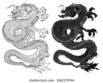 Hand drawn zentangle style Chinese dragon and sketch for tattoo