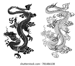 Hand drawn zentangle style Chinese dragon and sketch for tattoo.Dragon silhouette on white background.