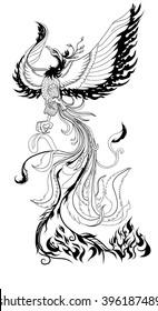 hand drawn zentangle style phoenix