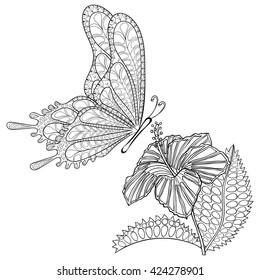 Hand drawn zentangle tribal flying Butterfly and Hibiscus flower for adult anti stress coloring pages, t-shirt print. Boho, bohemian style. Isolated illustration in doodle, henna tattoo design.