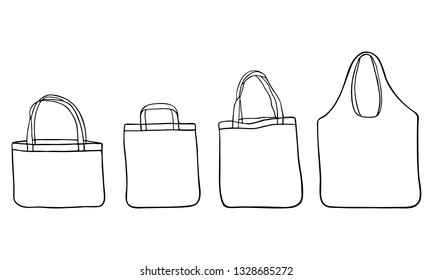 Hand drawn zero waste cotton bags for shopping. Set of sketches reusable textile bags. No plastic concept and eco friendly package. Isolated on white background.