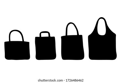 Hand drawn zero waste cotton bags for shopping. Set of silhouettes reusable textile bags. No plastic concept and eco friendly package. Black shapes isolated on white background.