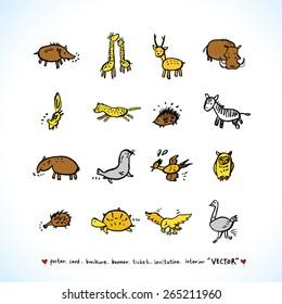 Hand drawn ZOO illustration - animal sketch - vector