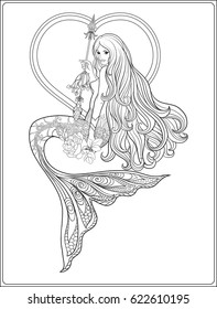 Hand drew mermaid with long hair. Stock line vector illustration. Outline drawing. Outline hand drawing page for adult coloring book