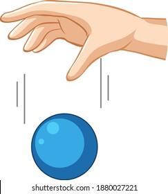 Hand, die blauen Ball für die Gravitationsexperimentelle Illustration fällt