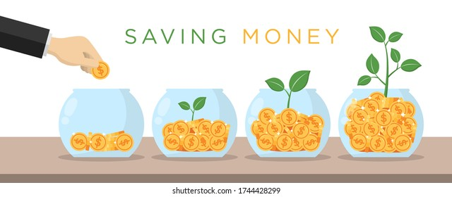 Hand dropping gold dollar coin in jar. Green plant growing from money. Saving money concept. Flat design vector illustration.