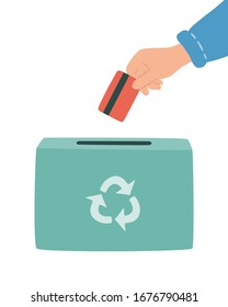 Hand drops off used plastic cards into bin for recycling. Safe disposal of gift or loyalty plastic cards. Hand drawn vector illustration on white background