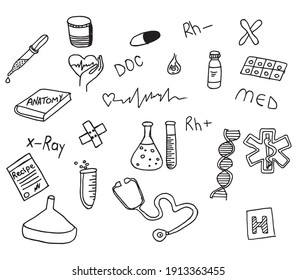 Hand drown collection medical essentials on white isolated background set