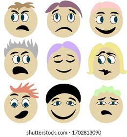 Hand drown doodle funny emoji character set