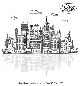 Hand drowning Cityscape doodles Vector Illustration Line Sketched Up isolated backgrounds