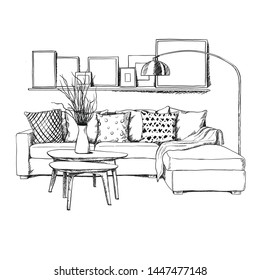 Hand drowning modern interior design. Vector sketch in black and white. Sofa and living room with coffee table, lots textile and painting and lighting. Place for your text copy space.
