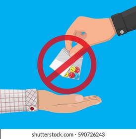Hand of the drug dealer gives bag of narcotic pills and cocaine to other hand. Anti-drug concept. Vector illustration in flat style