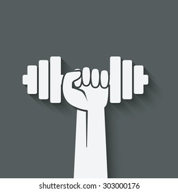 hand with dumbbell. fitness symbol. vector illustration - eps 10