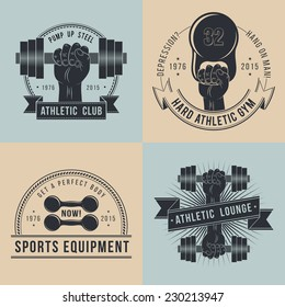 Hand with dumbbells. Logos for sport athletic club. Coat of Arms for the gym or equipment  shop. In old school style .
