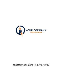 Hand Electric Logo Design Vector