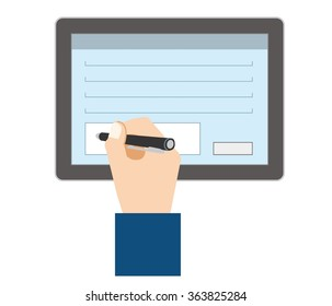 Hand for the electronic signature in the tablet terminal