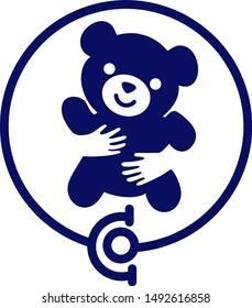 hand embracing teddy bear with love vector illustrator, love symbol. Pediatrician vector logo