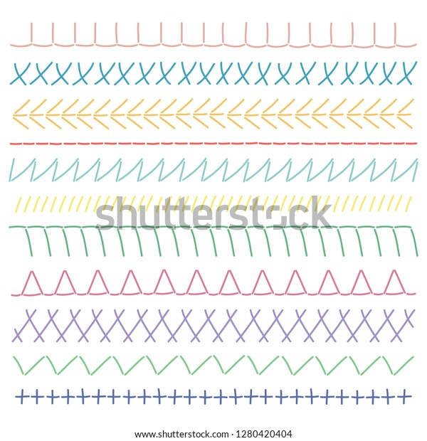 Hand Embroidery Stitches Set Embroidery Borders Stock Vector