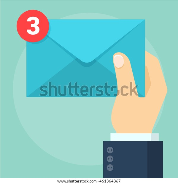 Hand with envelope and message indicator. Flat design e-mail and social network vector concept.