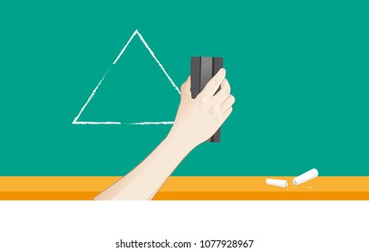 Hand erasing chalk blackboard